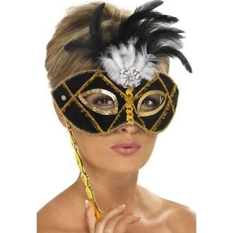 Masky - Škraboška černá s peřím, na tyčce
