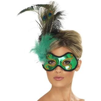 Masky - Škraboška Emerald Peacock s pavím peřím