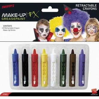 Líčidla a kosmetika - Zatahovací pastelky na obličej 8 barev