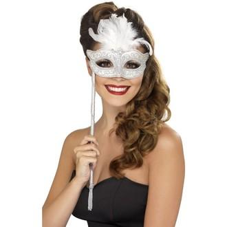 Masky - Barokní škraboška bílá
