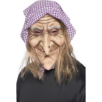 Čarodějnice - Maska Ježibaba s vlasy a šátkem