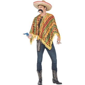 Kostýmy - Poncho s knírem