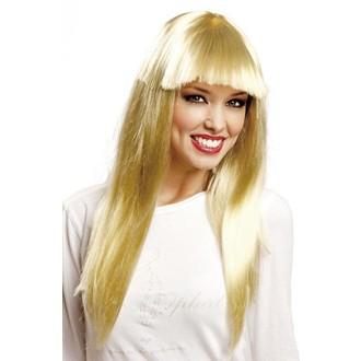 Paruky - Paruka dlouhá blond s ofinou