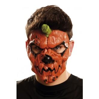Halloween, strašidelné kostýmy - Maska obličejová Dýňová zombie