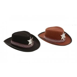 Kovbojové-divoký západ - Dětský klobouk Sherif hnědý