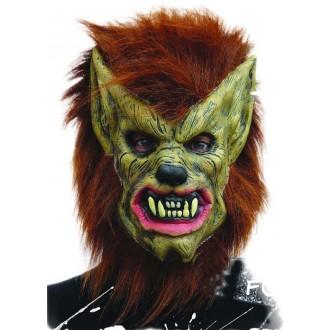 Halloween, strašidelné kostýmy - Maska vlkodlaka s vlasy