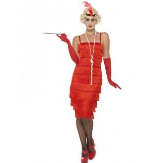 Kostýmy - Kostým charleston Flapper dlouhé šaty červené