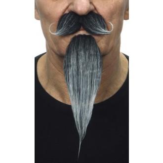 Karnevalové doplňky - Zakroucený knír a dlouhá bradka černošedý