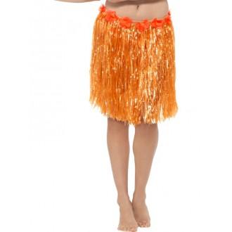 Havajská párty - Havajská sukně oranžová 40 cm s květinami