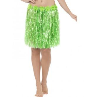 Havajská párty - Havajská sukně zelená 40 cm s květinami