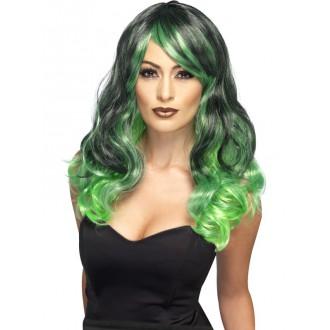 Čarodějnice - Paruka Čarodějnice zelená a černá