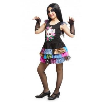 Halloween, strašidelné kostýmy - Dětský kostým Barevná kostlivka