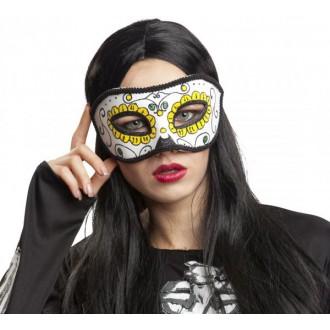 Masky - Škraboška bílo žlutá