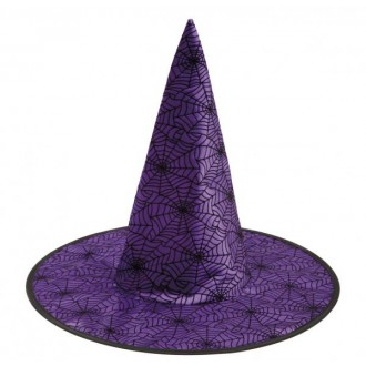 Čarodějnice - Klobouk Čarodějnice fialový s pavučinami