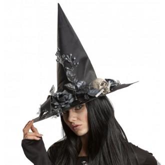 Čarodějnice - Klobouk Čarodějnice s kytkami a lebkou