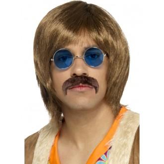 Hippie - Paruka, knírek a brýle Hippie hnědé