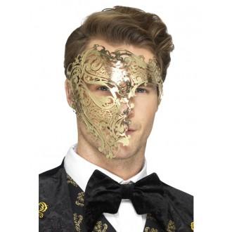 Masky - Škraboška Fantom zlatá kovová