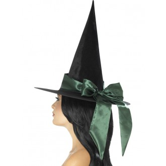 Klobouky,čepice.. - Klobouk Čarodějnice zelená mašle