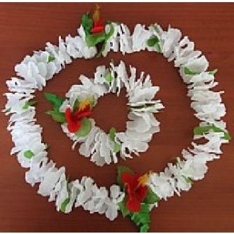 Havajská párty - bílý sbatební havajský věnec+ náramek