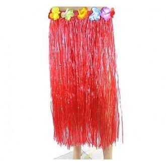 Havajská párty - červená dlouhá havajská sukně 70cm