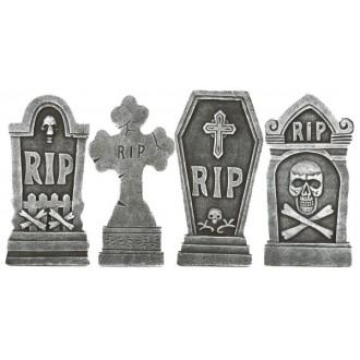 Halloween, strašidelné kostýmy - Sada náhrobků 4 ks