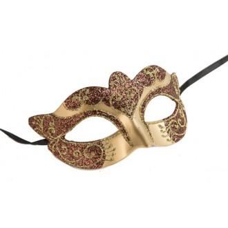 Masky - Škraboška glitter zlatá