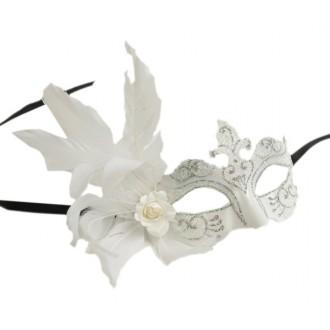 Masky - Škraboška glitter, s peřím bílá