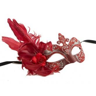 Masky - Škraboška glitter, s peřím červená