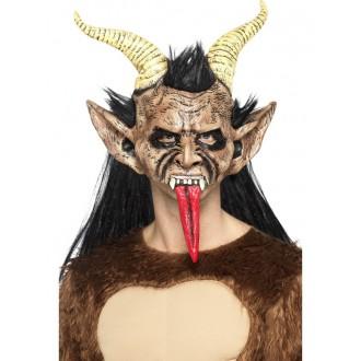 Mikuláš - Čert - Anděl - Maska s vlasy Čert s rohy a dlouhým jazykem