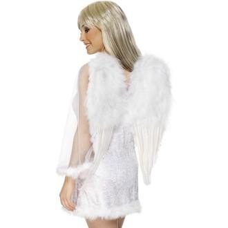 Karnevalové doplňky - Křídla péřová bílá 50 x 60 cm