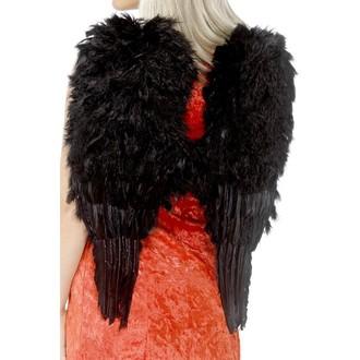 Karnevalové doplňky - Křídla péřová černá 50 x 60 cm