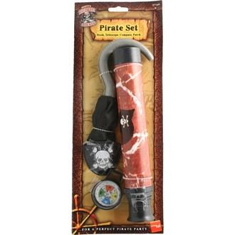 Piráti - Pirátská sada hák, dalekohled, kompas a páska