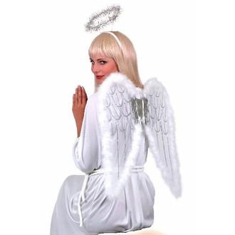 Karnevalové doplňky - Sada Bílá křídla a svatozář 55x50 cm
