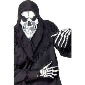 Halloween, strašidelné kostýmy - Kapuce a rukavice kostlivec bílý