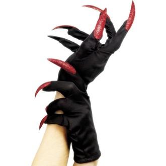 Karnevalové doplňky - Rukavice červené nehty