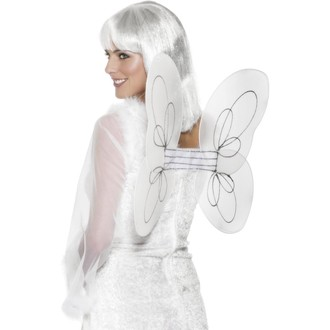Mikuláš - Čert - Anděl - Křídla bílá síťka 50x30 cm