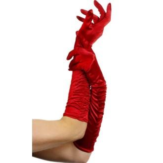 Karnevalové doplňky - Rukavice nařasené červené