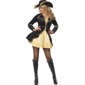 Piráti - Kostým Sexy pirátka černá/zlatá