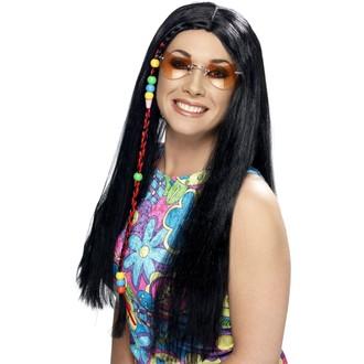 Hippie - Paruka Hippy Party s copem černá