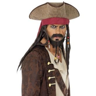 Piráti - Klobouk Pirátský s vlasy a šátkem