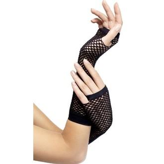 Karnevalové doplňky - Síťované rukavice černé bez prstů