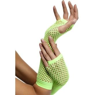 Karnevalové doplňky - Síťované rukavice neon zelené bez prstů