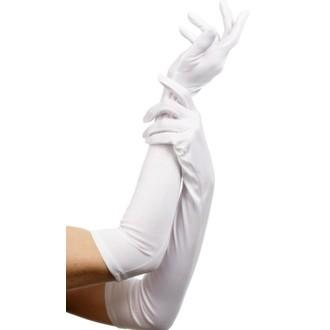 Karnevalové doplňky - Látkové rukavice bílé 52 cm
