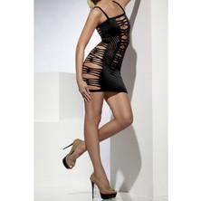 Děrované šaty černé