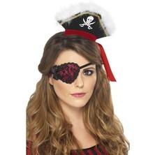 Pirátská páska červená s černou krajkou