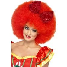 Paruka Afro s červenou mašlí