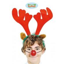 Vánoční čelenka sob se svítícím nosem