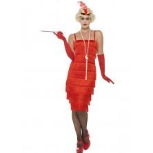 Kostým charleston Flapper dlouhé šaty červené