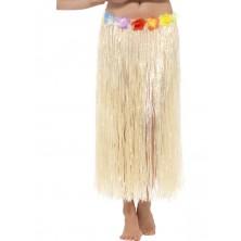 Havajská  sukně přírodní  90 cm s květinami