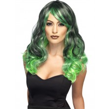 Paruka Čarodějnice zelená a černá